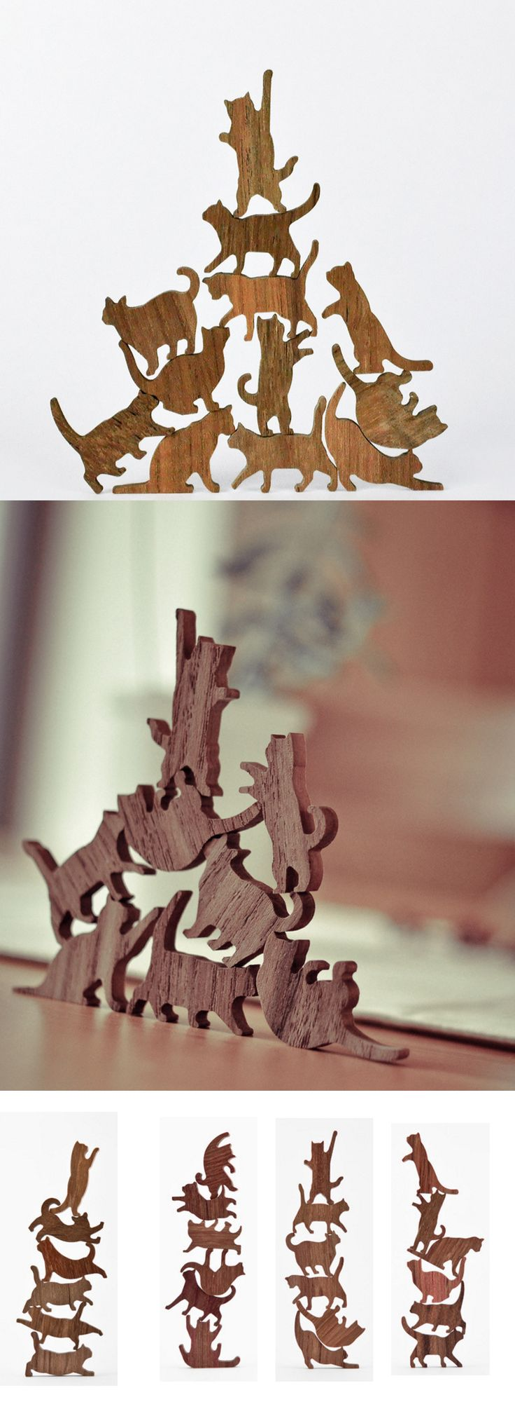"""Wooden Cat Stacking Game. $19.99 - Each set includes six cats in various poses. Laser cut from solid teak, the cats come in 4 different sets including a vast array of cat poses such as the """"stretch & yawn"""", """"play time"""", """"shrug of indifference,"""" and the classic """"feed me or I'll bite your legs."""" Cats measure approx. 1"""" x 1"""""""