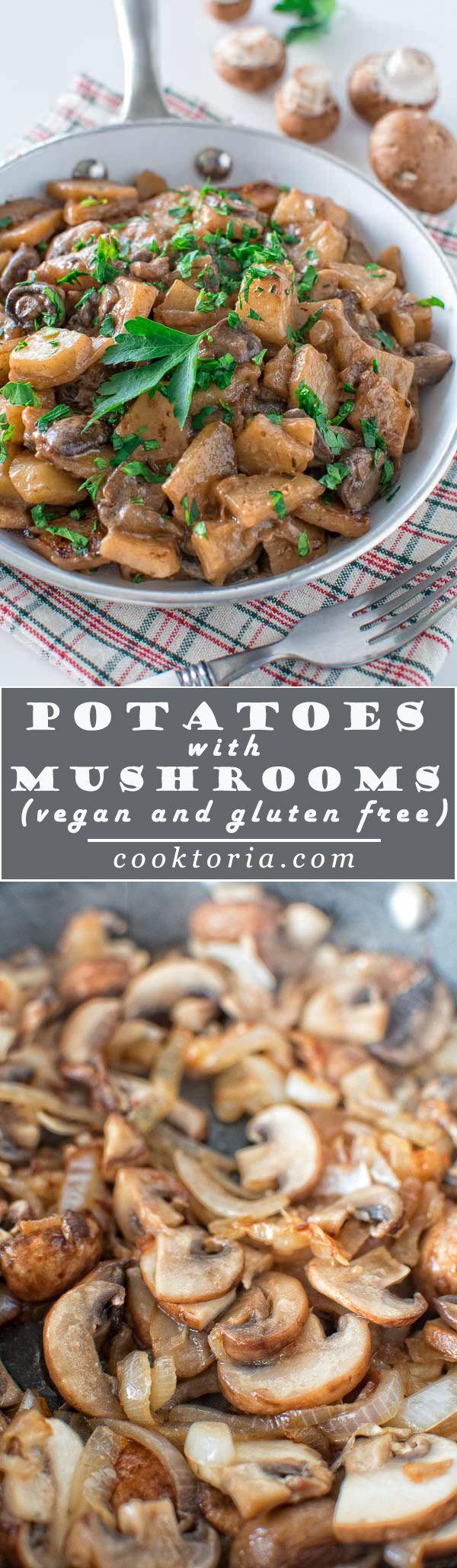Ultimate 1-pot vegetarian/vegan dinner! Delightful potatoes with mushrooms cooked to perfection in creamy coconut milk. ❤ COOKTORIA.COM