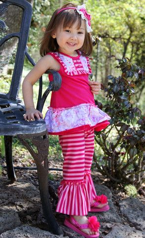 Bunnies Picnic - One Posh Kid Sophie Bib Tunic with Ruffle Pants - Boutique Clothing for Girls and Boys