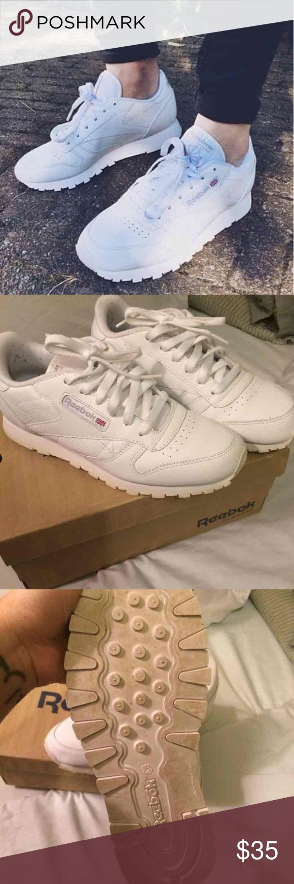 All White Reebok Classics Excellent condition  Has some pilling from my black socks on the inside  5.5 youth / 7.5 Women's  Comes with box Reebok Shoes Sneakers