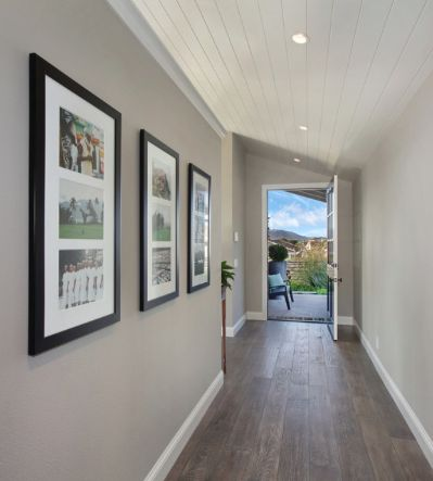 """Benjamin Moore """"Pashmina"""" Walls. The perfect paint color to go with ebony hardwood flooring."""