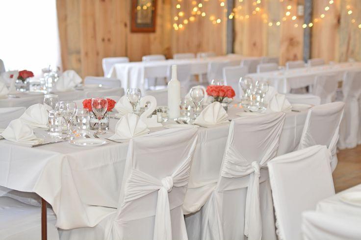 Super chic wedding table setup at La Grange Rouge.