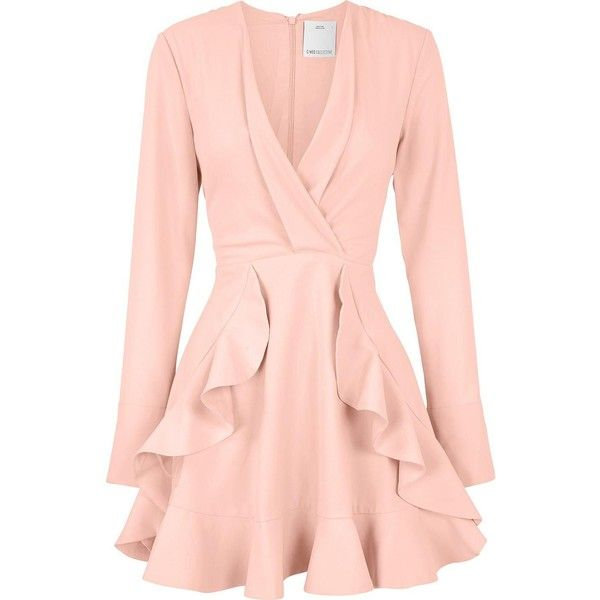 C/Meo Collective Ultralight Long Sleeve Ruffle Dress ($225) ❤ liked on Polyvore featuring dresses, flounce dress, frilly dresses, pink fit-and-flare dresses, pink frilly dress and fit and flare dress