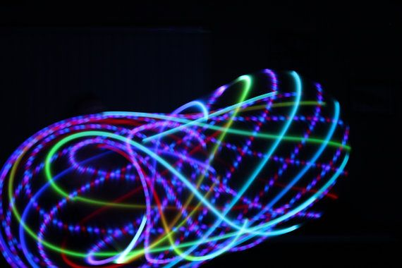 Rainbow Lotus LED Hoop sizes 2640OD HDPE or Polypro by HoopNerd