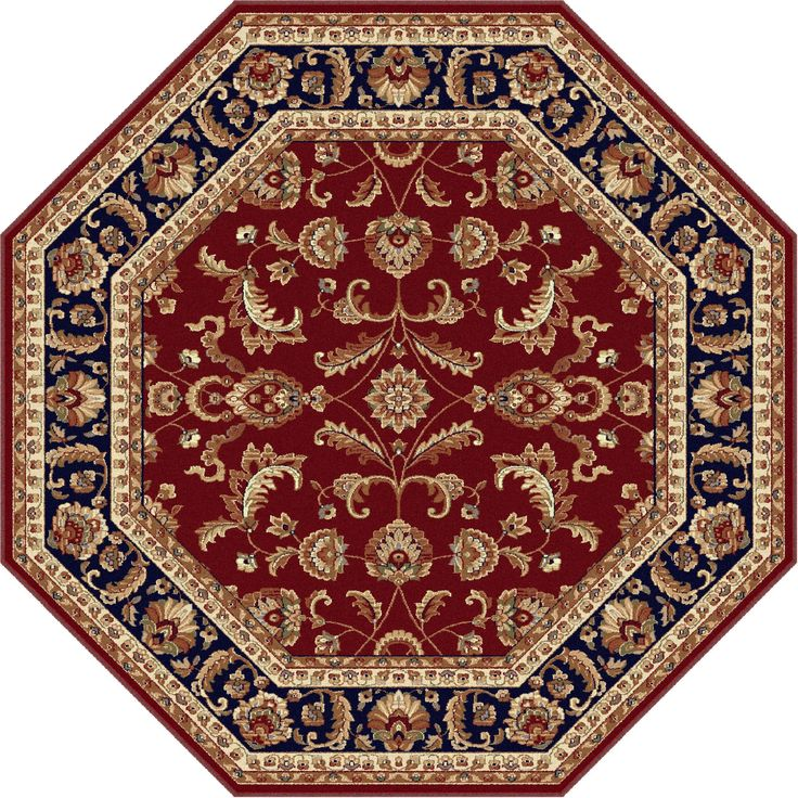 Alise Soho Octagon Transitional Area Rug (7' 10 Round) (Red) (Plastic, Oriental)