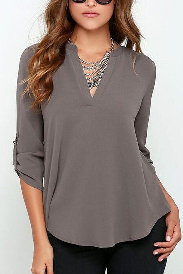 tab sleeve mandarin collar blouse