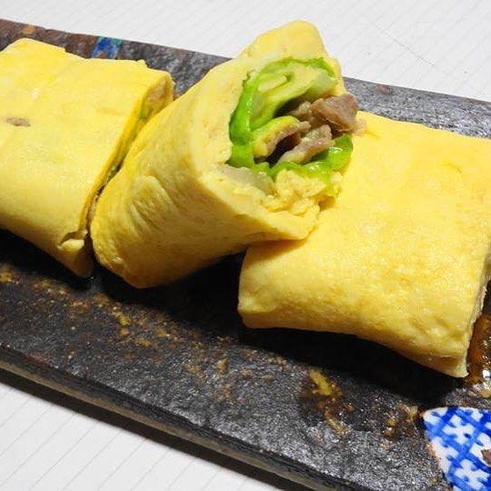 とん平焼きの玉子焼きバージョンです🤗🤗🤗 Japanese Egg Rolle with Pork &Veg #だし巻き玉子 #とんぺい焼き #野菜 #肉 #山口県グルメ #eggrolls #vegtabels