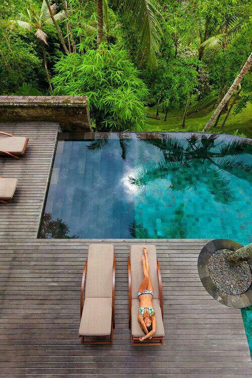 Love the infinity edge pool with such lush forest around don't you?