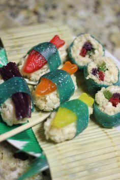 Candy Sushi - Swedish fish, Fruit roll ups, Twizzlers, rice krispie treats