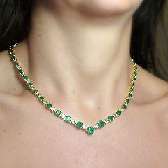 22.00ct AAA Colombian Emerald & Diamond Necklace 18k Yellow Gold *Stunning*
