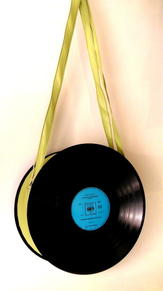 Sac disque vinyl 33 tours  zippé vert UNIKTONSAC