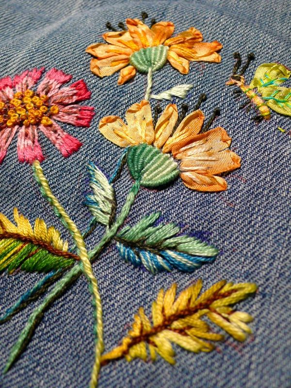 I like the combo ribbonwork and regular embroidery stitches