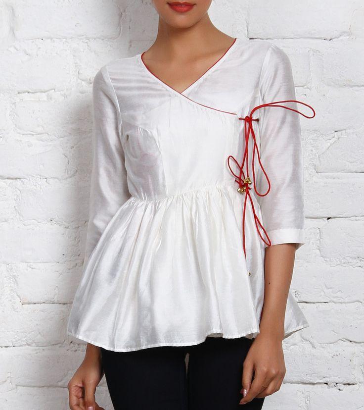 White Cotton Silk Top