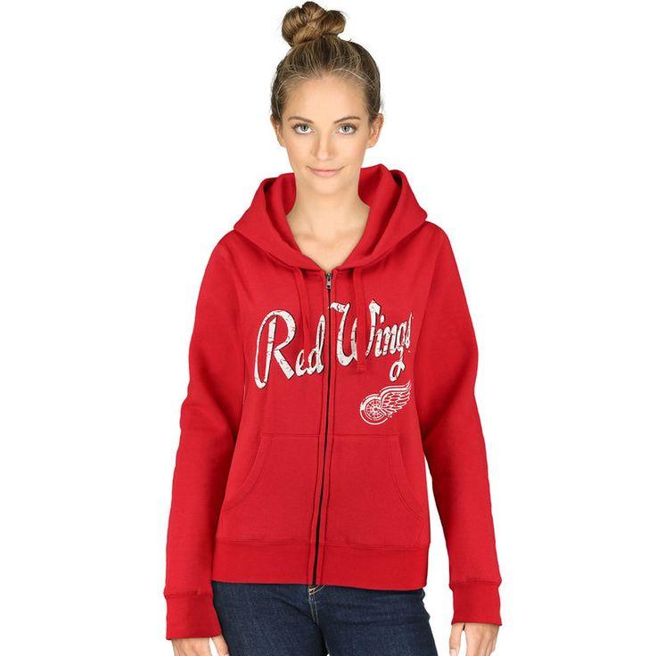 Detroit Red Wings 5th & Ocean by New Era Women's Core Fleece Full Zip Hoodie - Red