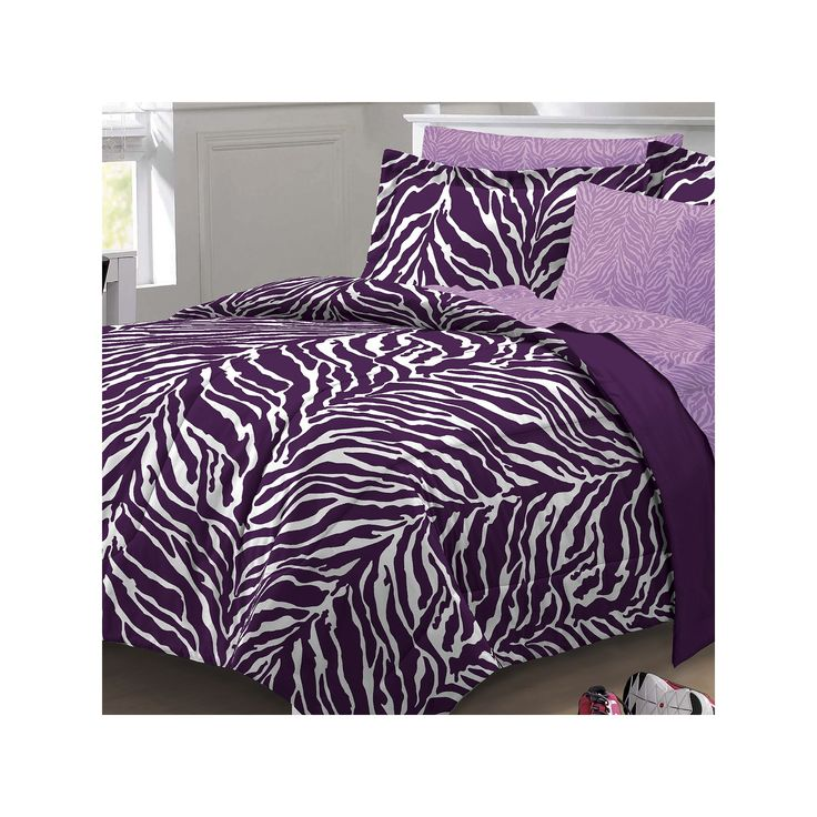 My Room Zebra Bed Set, Purple