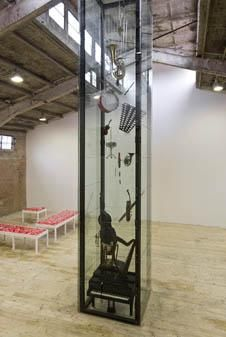 Carlos Garaicoa, Minuto Oriental en la Musica Occidental / An Oriental Minute in Occidental Music, 2008, music instruments, glass, metal, stethoscopes, wire. Galleria Continua Beijing, 2008. Photo by Oak Taylor-Smith.