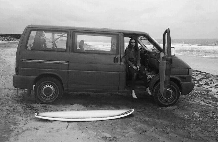 Surfer girl, The Netherlands, Winter surf, VW