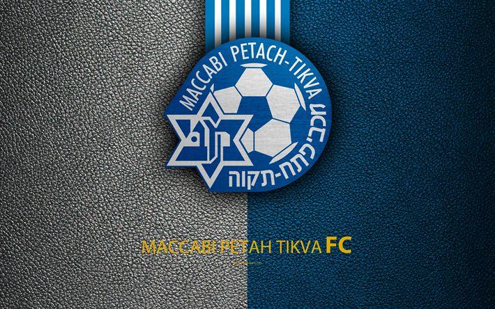 Download wallpapers Maccabi Petah Tikva FC, 4k, football, logo, emblem, leather texture, Israeli football club, Ligat HaAl, Petah Tikva, Israel, Israeli Premier League