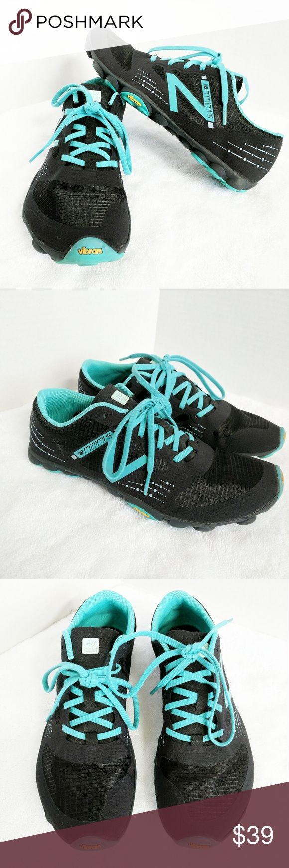 New Balance Minimus Zero Trail Running Shoes 9 The lightest, most minimum feel trail shoe. Worn only once or twice to the gym. Excellent condition. Vibram outsole. Odor resistant. Welded seams. Black and turquoise. Women's size 9 New Balance Shoes Athletic Shoes