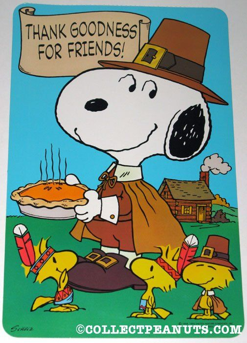 Pilgrim Snoopy & Indian Woodstocks Thanksgiving Press-out
