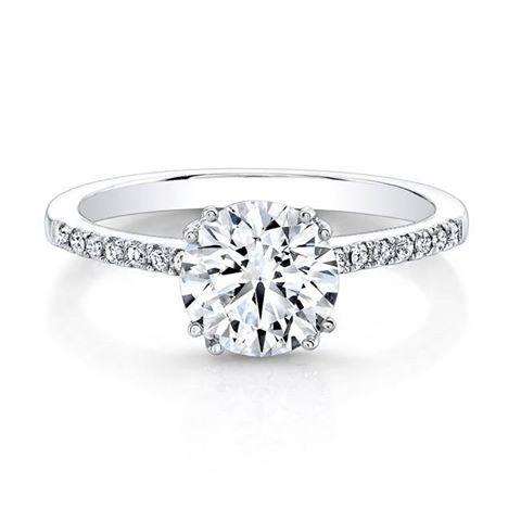 14k White Gold, Solitaire Engagement Ring 1.00 carat Round Brilliant Cut Center Stone