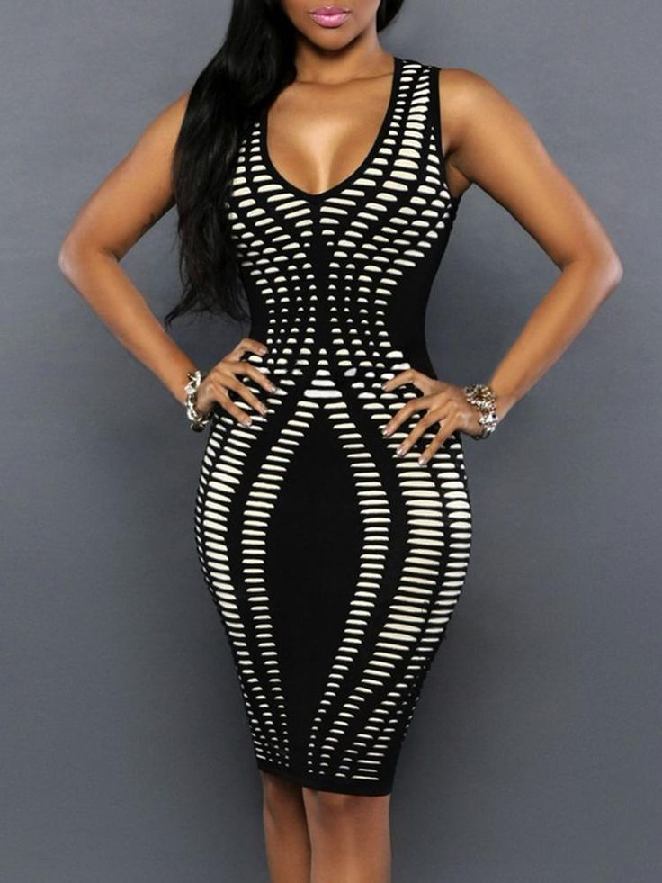 Women Sexy V Neck Multicolor Stripe Print Sleeveless Bodycon Dress chicme.com Online. Discover hottest trend fashion at chicme.com