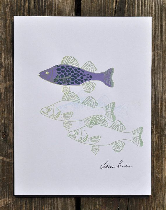 Check out this item in my Etsy shop https://www.etsy.com/listing/193999890/silkscreen-print-four-fish-purple-with