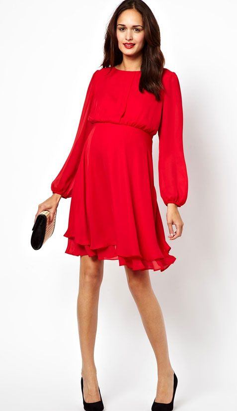 Love the deep red of this classy dress and the fun, swirly skirt! #maternity #clothing #style