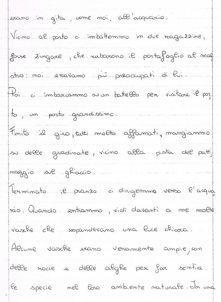 Tema     La gita all'acquario di Genova     Quella mattina, dopo essere stata sveglia nel letto per quasi mezzora, mi alzai ...