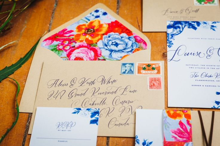 Colourful wedding invitations; Envelope Liner; Cocktails & Chill - Wedding Inspiration Gallery - Gina Humilde