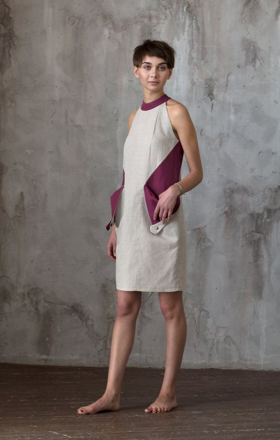 Color block midi dress with pockets / Fashion by ExlibrisClothing