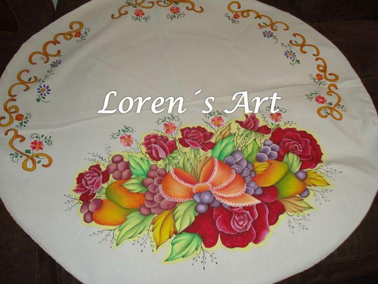 centro de mesa pintado sobre tela | Caminos de Mesa | Pinterest ...