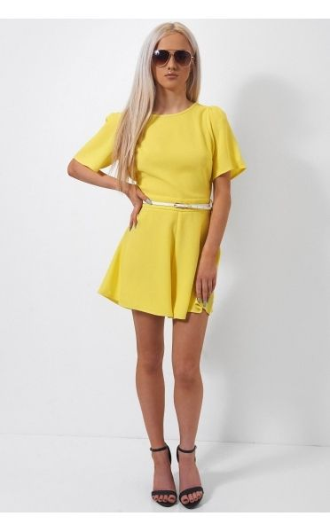 Cross Back Yellow Playsuit - from The Fashion Bible UK