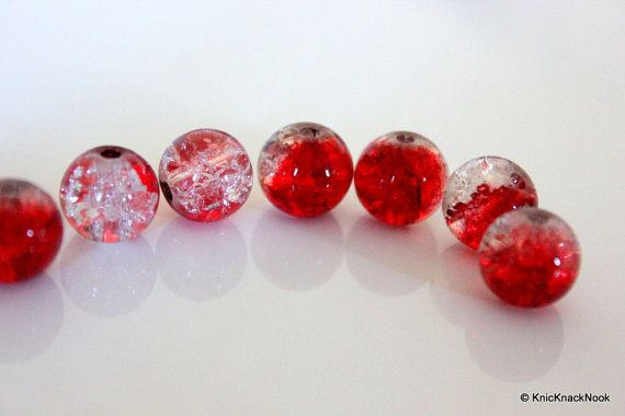 10 mm Red and Clear Two Tone Crackle Glass Beads by KnicKnackNook