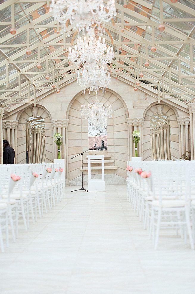 Amazing wedding ceremony venue with chandeliers! Johannesburg Wedding. Christiopher Smith Photography at Shepstone Gardens (1)