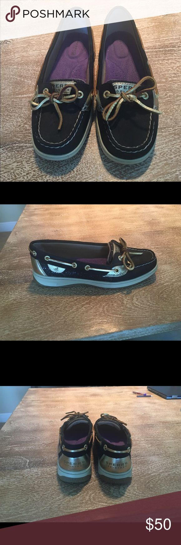 Black and Gold Sperry Topsiders size 7 NWOT. Black and Gold Sperrys. Size 7M. Never worn. No box. Sperry Top-Sider Shoes Flats & Loafers