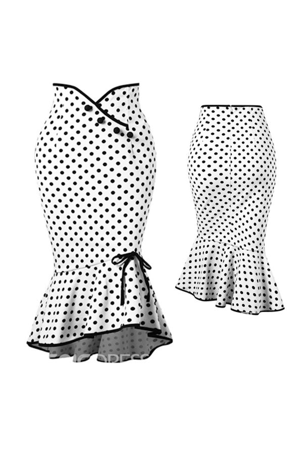 6375814bb Polka Dots Bowknot Mermaid Women s Skirt in 2019