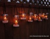 Mason jar luminariesCrafts Ideas, Jars Candles, Gardens Lights, Mason Jars Gardens, Jars Luminaries, Mason Jars Lanterns, Hanging Mason Jars, Mason Jar Lanterns, Diy