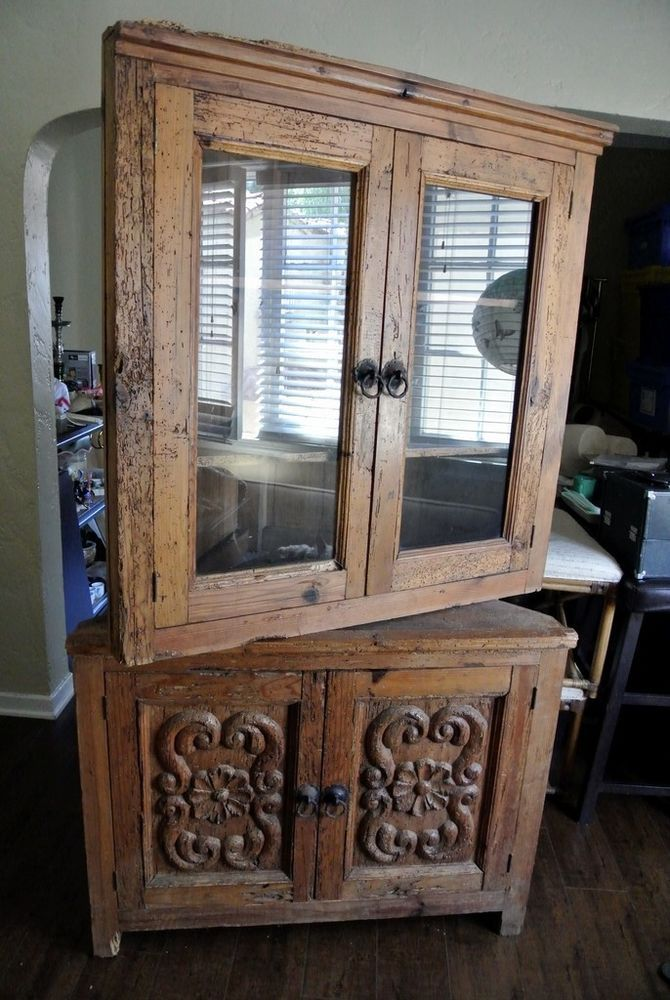 Antique Hand Carved Mexican Wormwood 2 Piece Corner Hutch