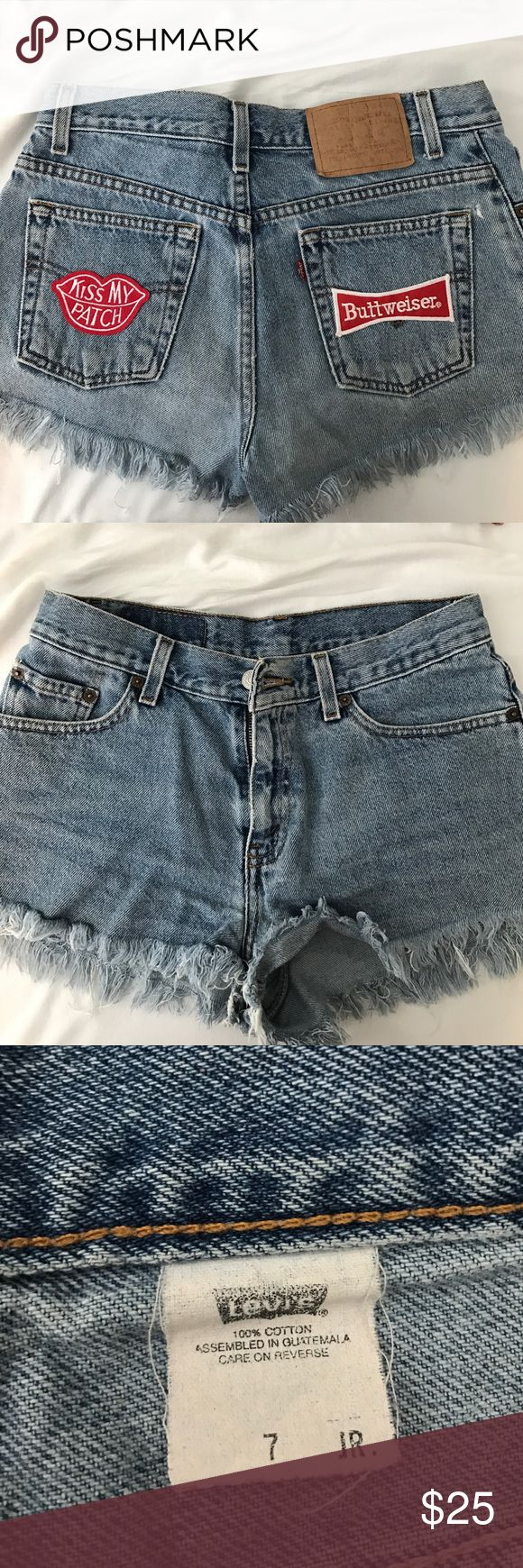 Homemade vintage levis shorts Frayed bottom with two patches on the pockets, buttweiser, kiss my patch Levi's Shorts Jean Shorts