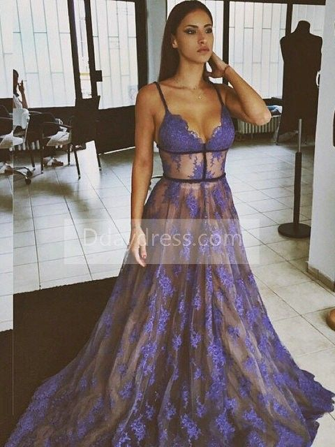 Purple Lace Prom Dresses Spaghettis Straps Nude Lining Long Sexy Evening Dress ItemNe0051 #Purple #Lace #PromDress #SpaghettisStraps #Long #Sexy #Eveningdress #ddaydress