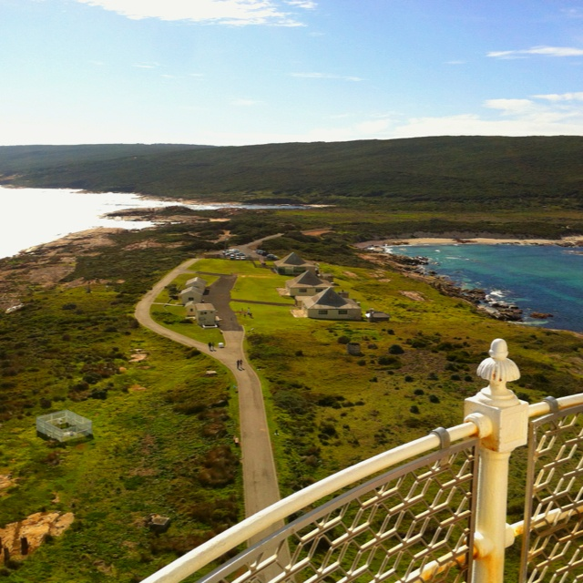 Cape Leeuwin Lighthouse, Western Australia. Indian Ocean on left. Southern Ocean on right (looking North) This will be our starting point.