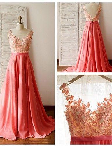 Charming Prom Dress,Chiffon Prom Dress,Appliques Prom Dress,O-Neck Evening Dress P589