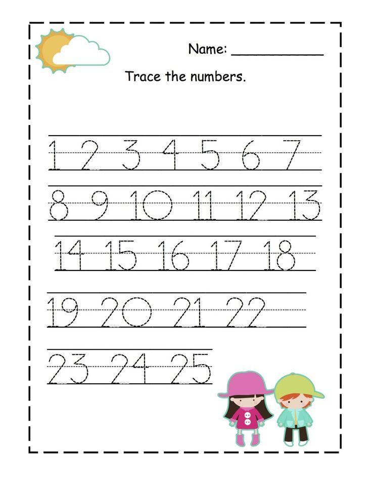 Number Tracing worksheet 125 Homeschooling Number