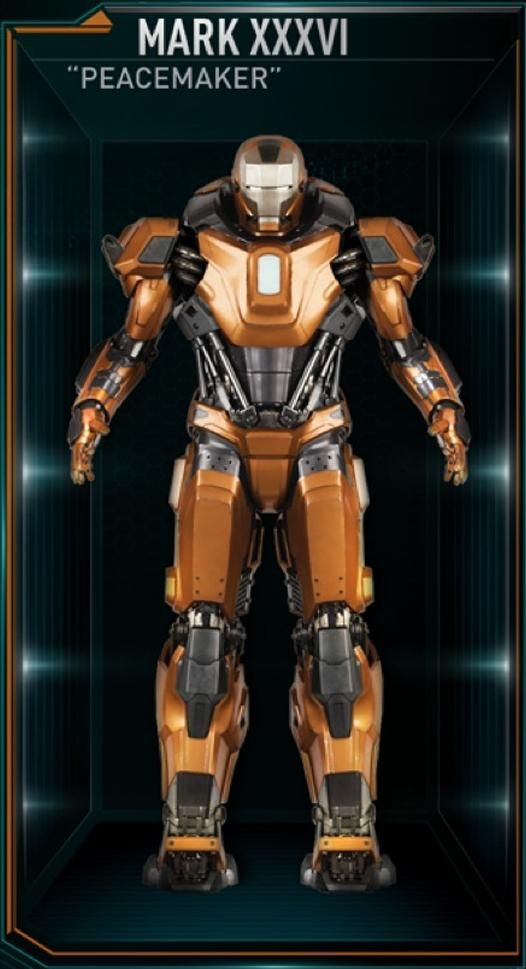 """The Mark 36 (Mark XXXVI), also known by its codename as """"Peacemaker"""", is a Riot Control Suit, and was one of several new Iron Man Armors created by Tony..."""