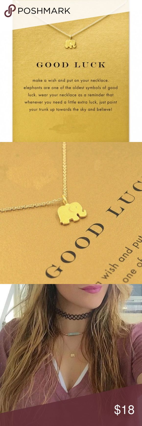 Good Luck Elephant Necklace with Card ⭐️⭐️⭐️⭐️⭐️ 5 star rated! Dogeared-style Good Luck Elephant necklace with card. Gold dipped. Makes a beautiful gift! ✨14k gold dipped✨  Bundle discount available!  🍍Suggested User! 🍍5 Star Rated Seller!  🍍Same or next day shipper! 🚫No trades! ❌No half price offers Pineapple.PalmBeach Jewelry Necklaces