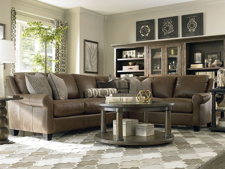 Large L Shaped Sectional By Bassett Furniture Brown