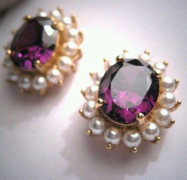 Gold pearl amethyst earrings