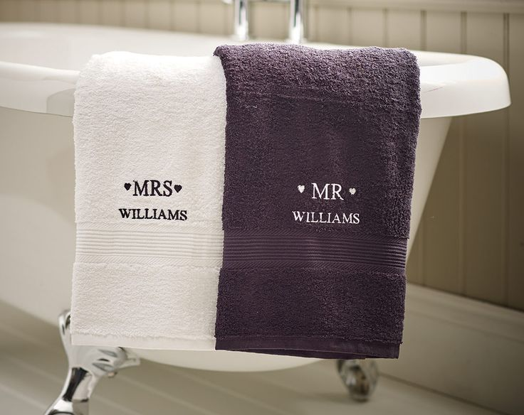 Good Mr U0026 Mrs Bath Towels Set Perfect As A Gift For Newlyweds Or For An  Anniversary. X Personalise With Embroided Surname Up To 15 Characters. Part 23