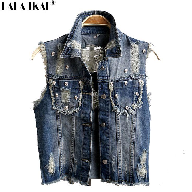 Niña chaleco de mezclilla remache Vintage Skull tachonado chaleco de Jeans mujeres Ripped Tassel sin mangas de la chaqueta SWE0035-5(China (Mainland))